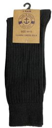 Yacht & Smith Men's Combed Cotton Black Dress Socks Thick Ribbed Texture Cotton Blend Size 10-13