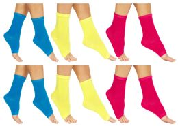 Yacht & Smith Womens Assorted Color Open Toe Flip Flop Pedicure Socks 36 pack