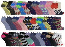 Assorted Pack Of Womens Low Cut Printed Ankle Socks Many Prints Assorted