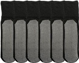 Yacht & Smith Womens Loose Fit Gripper Bottom Diabetic NoN-Skid Slipper Black Socks, Grippy Hospital Sock, Size 9-11 6 pack