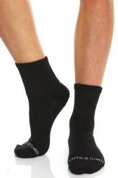Yacht & Smith Womens Loose Fit Gripper Bottom Diabetic NoN-Skid Slipper Black Socks, Grippy Hospital Sock, Size 9-11