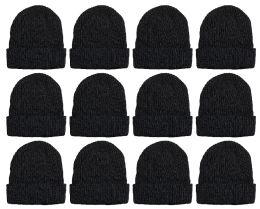 Yacht & Smith Unisex Sherpa Line Ribbed Faux Fur Winter Beanie Hat Solid Black 12 pack