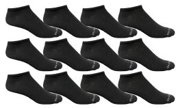 Yacht & Smith Men's Light Weight Breathable No Show Loafer Ankle Socks Solid Black 12 pack