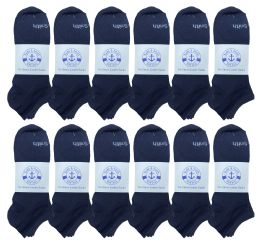 Yacht & Smith Mens Comfortable Lightweight Breathable No Show Sports Ankle Socks, Solid Navy Bulk Buy 48 pack