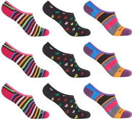 Women's Mesh No Show/Silicone No Slip Loafer Sock Liner (Asst Prints) 12 pack