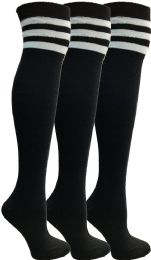 Yacht & Smith Womens Over The Knee Socks Referee Style Thigh High Socks Style 3 Pairs Black Striped 3 pack