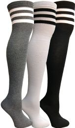 Yacht & Smith Womens Over The Knee Socks Referee Style Thigh High Knee Socks Striped Black, White And Gray 3 pack