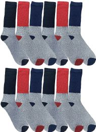 Yacht & Smith Thermal Diabetic Crew Socks For Men, Marled, Ringspun Cotton, Seamless Toe, Loose Top