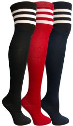 Yacht & Smith Womens Over The Knee Referee Thigh High Boot Socks 24 pack