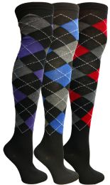 Yacht & Smith Womens Over The Knee Referee Thigh High Boot Socks Argyle Print 24 pack