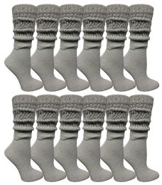Yacht & Smith Womens Heavy Cotton Slouch Socks, Solid Heather Gray 36 pack