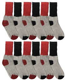 Yacht & Smith Cotton Thermal Crew Socks , Cold Weather Kids Thermal Socks Size 6-8 36 pack