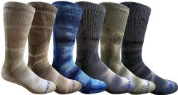 6 Pairs of Womens Tie Dye Cotton Colorful Soft Crew Socks, Bright Colorful Boot Sock, Bulk 6 pack
