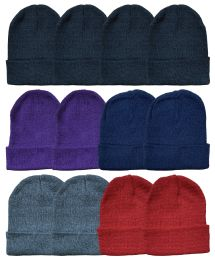 Yacht & Smith Unisex Warm Acrylic Knit Winter Beanie Hats In Assorted Colors 60 pack