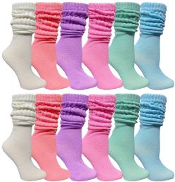 Yacht & Smith Slouch Socks For Women, Assorted Pastel Size 9-11 - Womens Crew Sock