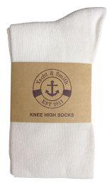 Yacht & Smith Womens White Knee High Socks, Boot Socks 90% Cotton, Size 9-11