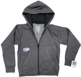 Billionhats Wholesale 24 Pack Kids Hoodie Sweatshirts Bulk, Zipper, Ecosmart Yarn, Hoodie Pocket, Charcoal Gray (large)