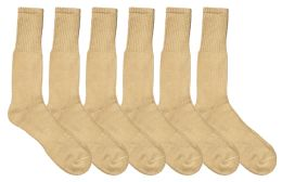 Yacht & Smith Men's Military Grade Wick Dry Crew Socks ,Heavy Duty Boot Sock Size 10-13 Solid Khaki 6 pack