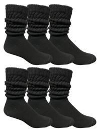 Yacht & Smith Mens Cotton Extra Heavy Slouch Socks, Boot Sock Solid Black 6 pack