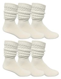 Yacht & Smith Mens Cotton Extra Heavy Slouch Socks, Boot Sock Solid White 6 pack