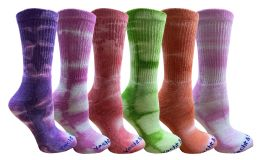 Yacht & Smith Womens Ring Spun Cotton Tie Dye Crew Socks Size 9-11 Super Soft Arch Support