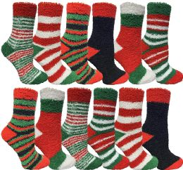 Yacht & Smith Women Fuzzy Socks Crew Socks, Warm Butter Soft (9-11) (12 Pack Assorted A) 12 pack
