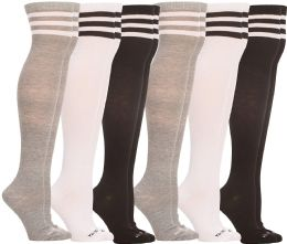 Yacht & Smith Womens Over the Knee Socks, Assorted Premium Soft, Cotton Colorful Patterned (6 Pairs Striped (Black, White, Gray)) 6 pack