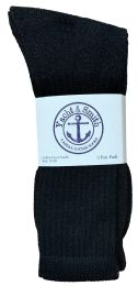 Yacht & Smith Men's King Size Cotton Terry Cushioned Crew Socks Black Size 13-16 Bulk Pack