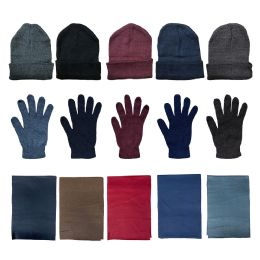 Yacht & Smith Unisex 3 Piece Winter Care Set, Assorted Beanie Hat , Assorted Magic Gloves And Assorted Fleece Scarf 36 pack