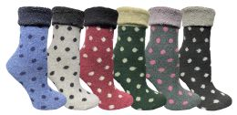 Yacht & Smith Womens Thick Soft Knit Wool Warm Winter Crew Socks, Patterned Lambswool, POLKA DOT 24 pack
