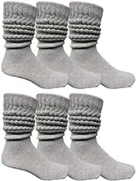 Yacht & Smith Men's Cotton Extra Heavy Slouch Socks, Thick Boot Sock for mens 6 pack