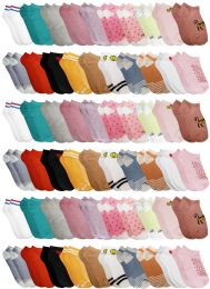 Yacht & Smith Assorted Pack Of Girls Low Cut Printed Ankle Socks Bulk Buy