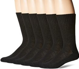 Hanes Mens Black Cushioned Crew Socks, Shoe Size 6-12 36 pack