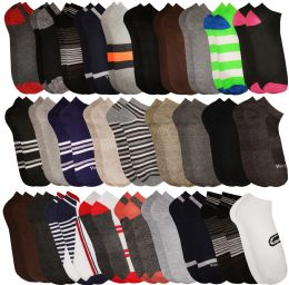 Yacht & Smith Assorted Pack Of Mens Low Cut Printed Ankle Socks Bulk Buy 60 pack