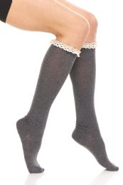 Yacht & Smith 100% Cotton Womens Knee High Socks With Lace Trim, Size 9-11 Assorted Colors