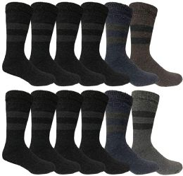 BILLIONHATS Rabbit Wool Thermal Mens Socks, Winter Warm Sock for Men, Very Thick (12 Pairs) 12 pack