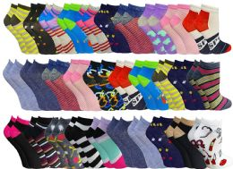 Womens Colorful Assorted Lightweight Low Cut Ankle Socks, Size 9-11