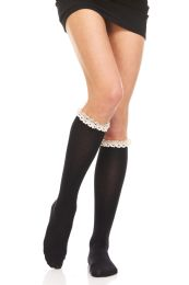 Yacht & Smith 100% Cotton Womens Knee High Socks With Lace Trim, Size 9-11 Solid Black Boot Socks 12 pack