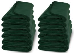 Yacht & Smith 50x60 Warm Fleece Blanket, Soft Warm Compact Travel Blanket Solid Hunter Green