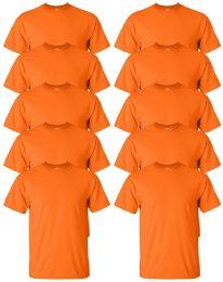 Gildan Mens Orange Cotton Crew Neck Short Sleeve T-Shirts Solid Orange Size 3X