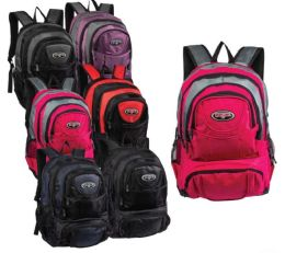 "19"" Multi Compartment Nylon Wholesale Backpacks in 6 Assorted Colors"