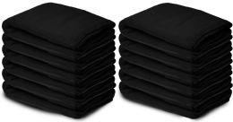 Yacht & Smith 50x60 Warm Fleece Blanket, Soft Warm Compact Travel Blanket Solid Black