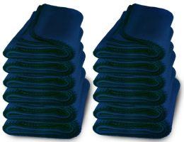 Yacht & Smith 50x60 Warm Fleece Blanket, Soft Warm Compact Travel Blanket Solid Navy