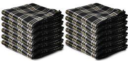 Yacht & Smith 50x60 Warm Fleece Blanket, Soft Warm Compact Travel Blanket Black Plaid