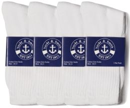 Yacht & Smith Mens Cotton White Crew Socks, Sock Size 10-13