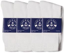 Yacht & Smith Mens Cotton White Crew Socks, Sock Size 10-13