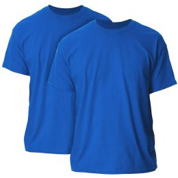 Mens Cotton Crew Neck Short Sleeve T-Shirts Solid Blue, Large