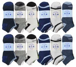 Yacht & Smith Men's Wholesale Shoe Liner Training Socks, No Show, Thin Low Cut Sport Ankle Bulk Socks, 10-13 Assorted Prints