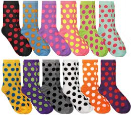 Women's Casual Crew Socks, Cotton Colorful Fun Patterns, Polka Dot Crew Socks Size 9-11