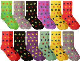 Womens Casual Crew Socks, Cotton Colorful Fun Patterns, Women Patterned Dress Sock Stars Print Size 9-11